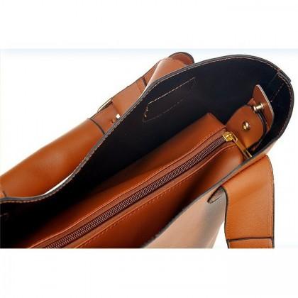 2-in-1 Vintage PU Leather Shoulder Bag