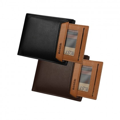 Bogesi 721-1 Premium Leather Men Short Horizontal Wallet