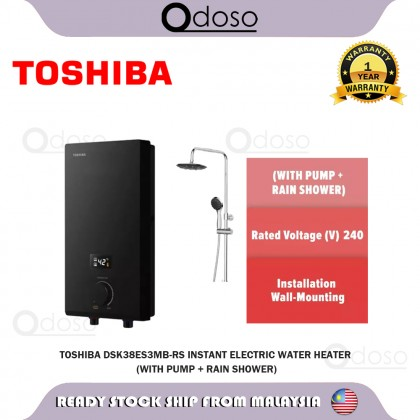 SOKANO Toshiba Instant Electric Water Heater With Pump + Rain Shower (DSK38ES3MB-RS)