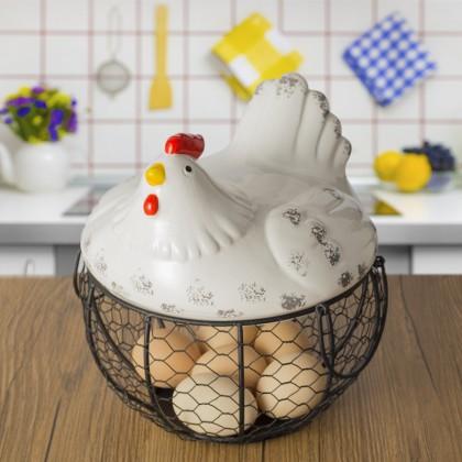 SOKANO FC007 Egg Basket Fruit Storage Basket Container Kitchen Organizer Chicken Design Hen Design Kitchen Decor